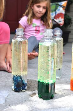 vegetable oil, water, food coloring and alka seltzer. Lava Lamps