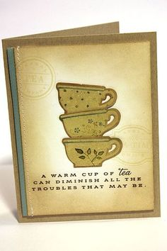 Tea For Two Revisited - Stacked Tea Cups Card by Heather Nichols for Papertrey Ink (April 2013)