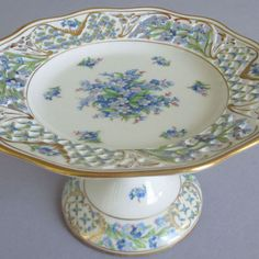 Vintage Dresden Porcelain Reticulated Compote Forget Me not Chalet Schumann | eBay - Ohhhhh!