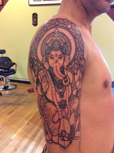 What does ganesha tattoo mean? We have ganesha tattoo ideas, designs, symbolism and we explain the meaning behind the tattoo. Dope Tattoos, Badass Tattoos, Trendy Tattoos, New Tattoos, Small Tattoos, Buddhist Symbol Tattoos, Hindu Tattoos, Kali Tattoo, Ganesh Tattoo