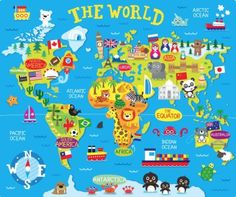 Jennie Bradley - Screen Shot At World Map Printable, Kids World Map, Maps For Kids, Les Continents, Map Wallpaper, Country Maps, World Geography, Oceans Of The World, Class Decoration