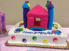 Bounce House Cake Iced In Buttercrem Corners Were Done W Plastic