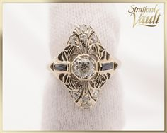 Items similar to Edwardian ~ Diamond & Sapphire Ring ~ White Gold ~ European Cut Diamond ~ Original Synthetic Sapphires ~ ~ GIA ~ on Etsy European Cut Diamonds, Antique Jewelry, Class Ring, Diamond Cuts, Sapphire, White Gold, Antiques, Trending Outfits, Handmade Gifts