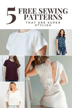 5 Free Sewing Patterns for Blouses That Are Super Stylish - Crewel Ghoul - - I have been obsessed with sewing lately. It's become my new creative outlet! I spent quite a bit of time. Beginner Sewing Patterns, Japanese Sewing Patterns, Plus Size Sewing Patterns, Dress Sewing Patterns, Free Sewing, Clothing Patterns, Beginners Sewing, Baby Sewing, Blouse Pattern Free