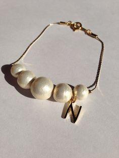 Initial cotton Pearl bracelet