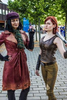 """atotallyseriousfalloutaddict: """"PIPER: So, no one's managed to put you to the ground yet, Cait? CAIT: Not yet, though it isn't for a lack of tryin'. @lorethiacosplay as piper Me/ @nossbornart as Cait Photo by Musti photography """""""