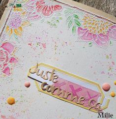 Carte Juste comme ça par Milie - DIY and cie : embossée en blanc et colorisée aquarelle