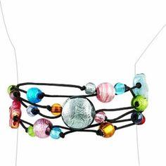 Antica Murrina Cancun Murano Glass Beads Flowers Multistrand Bracelet ..