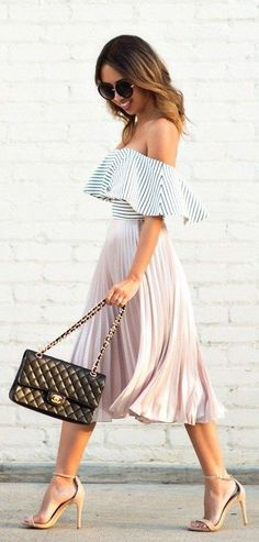 Striped off the shoulder top & blush skirt.