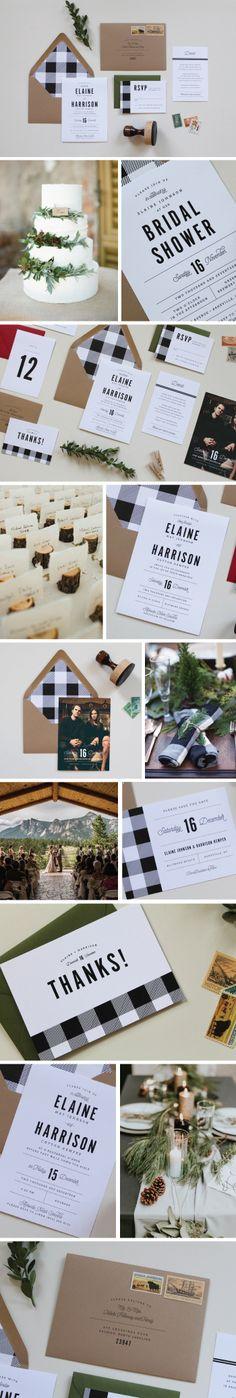 Rustic Wedding | Buffalo Check Wedding Invitations, Rustic Wedding Invitations, Mountain Wedding, Plaid Wedding Invitations, Gingham, Plaid, Flannel, Buffalo Check