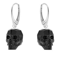 Skull earrings made with sterling silver & Swarovski® Crystals