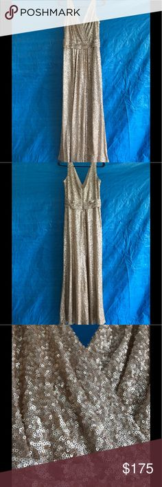"Gold sequin Sorella Vita dress Gold (pretty gold, not brassy) sequin Sorella Vita gown. Slight alteration in length to fit 5'3"" with 21/2 inch heels. Shoulder straps adjusted a small amount. SORELLA VITA Dresses Maxi"
