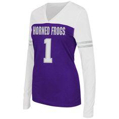 TCU Horned Frogs Colosseum Women's Packed Powder Long Sleeve V-Neck T-Shirt - Purple/White - $34.99
