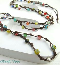 Surfin' Daze long boho surf necklace made to order by Beady Daze Leather Jewelry, Boho Jewelry, Jewelry Crafts, Beaded Jewelry, Handmade Jewelry, Jewelry Necklaces, Jewelry Design, Wire Bracelets, Jewelry Holder