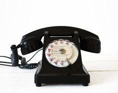 """Gorgeous original French Rotary Phone Telephone of the 50 s in black bakelite with the """" Mother-in Law"""" listener."""
