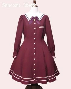 Innocent World - Anchor Charm Long Sleeve OP in Wine Human Doll, Shops, Character Outfits, Vintage Wear, Lolita Fashion, Anchor Charm, Dresses For Work, Wedding Dresses, Bordeaux