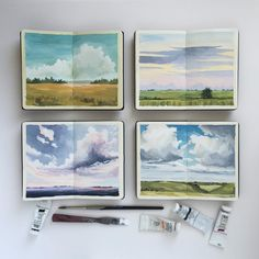 I currently have twelve original paintings (including these four ) available at Harris Fine Art in Charlottesville Virginia. If you're in the area you should stop by and take a look! by carrieshryock Landscape Art, Landscape Paintings, Landscapes, Landscape Pictures, Fantasy Landscape, Art Inspo, Posca Art, Arte Sketchbook, Travel Sketchbook