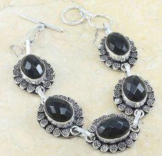 "Vintage Lace Black Onyx 925 Stering Silver Adjustable Chain Bracelet 8"", #2 #Hermosa #Chain"