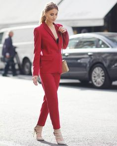 sexy red blazer with trousers