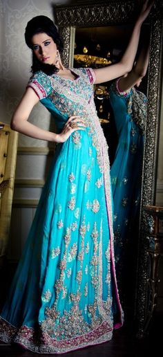 Pakistani long blue outfit