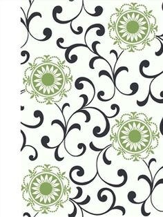 This wallcovering features six inch daisy medallions scattered over contrasting curlicues. The pert tri-colored pattern makes a unique decorating statement. Three color variations are available including black with Katydid green on a field of white.