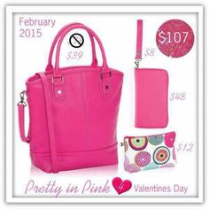 I LOVE THE PINK!   The PARIS PURSE- Mini Zipper Pouch and the All About the Benjamins Wallet and the strap to match- perfect size!   mythirtyone.com / carlacannoy
