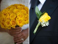 Pops of yellow at Erin & TJ's Vail wedding