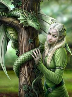 Anne Stokes - Amazing is the only way to describe her artwork that and I love the fantasy theme./ small green dragons in my fantasy world are healing dragons. they are really smaller than this dragon, kitten sized. Anne Stokes, Fantasy Artwork, Fantasy Images, Fantasy Love, Elfen Fantasy, Dragons, Elfa, Green Dragon, Fantasy Kunst