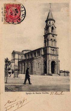 A igreja de Santa Cecília em postal circulado em 1913. Autoria desconhecida, encontrado em um site de leilões.