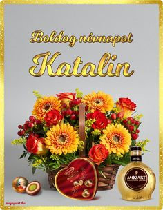Boldog névnapot Katalin! - Megaport Media Share Pictures, Name Day, Chocolate Cream, Cut Flowers, Flower Arrangements, Topiary, Floral Wreath, Happy Birthday, Table Decorations
