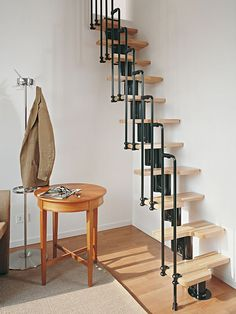 Karina Spiral Staircases - Karina, the Compact Interior Staircase Kit Here's the Fontanot staircase kit that  offers the most flexibility right out of the box. With the proper selection of  additional riser, Second side rail and/or balcony, this kit can be easily  installed right out of the box, using common household tools. The resulting  installation is the perfect way to add beauty access, convenience and Italian  design and manufacturing to your home or other structure. ...
