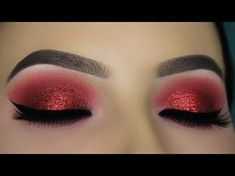 Makeup Look Red Eyeshadow Festival - red glitter smokey eye tutorial Red Glitter Eyeshadow, Red Eyeshadow Makeup, Eyeliner, Eye Makeup Tips, Smokey Eye Makeup, Glitter Lips, Makeup Eyes, Makeup Hacks, Makeup Blog