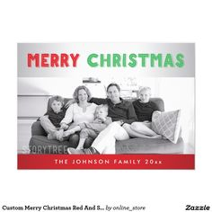 Custom Merry Christmas Red And Silver Photo Cards