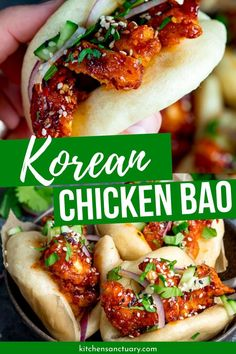 Korean Chicken Bao Korean Chicken Bao is a mini bao bun that is stuffed with Korean chicken and topped with fresh toppings. Light, fluffy, and one incredible bite of flavors. Asian Recipes, Mexican Food Recipes, Healthy Recipes, Healthy Food, I Love Food, Good Food, Yummy Food, Appetizer Recipes, Dinner Recipes