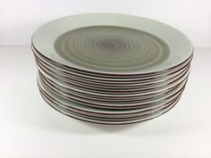 10 Stavangerflint Scandinavian Norway dinner plates. Pastel green with olive