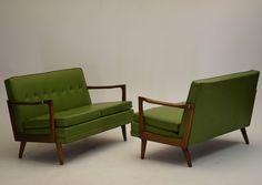 TWO sofas love seats danish mid century modern vintage dux pearsall risom eames