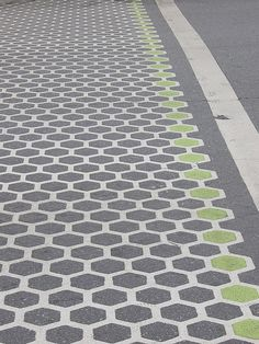 A favorite crosswalk pattern. Photo by Katie Bowler. Landscape Architecture, Landscape Design, Adele, Pavement Design, Pedestrian Crossing, Paving Pattern, Public Space Design, Zebra Crossing, Western Landscape