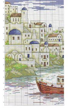 Punto croce - Schemi Gratis e Tutorial: Paesaggi a punto croce: scorcio greco