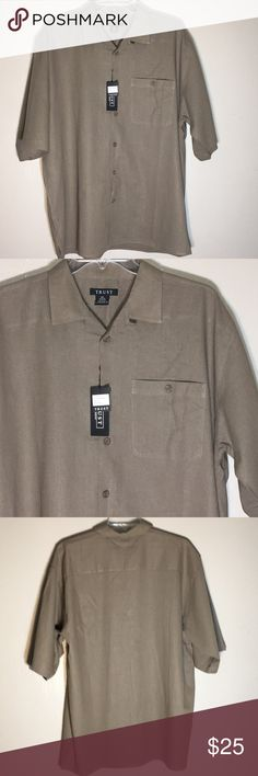 Trust short sleeve linen shirt buttons Trust by Monobalk INC short sleeve linen/rayon shirt sleeve button down shirt size XXL mushroom color Trust Shirts Dress Shirts