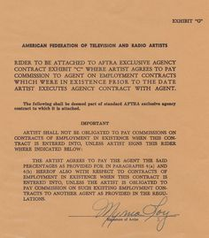 Myrna Loy Autographed Contract