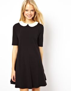 Swing Dress With Contrast Collar