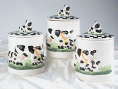 Decorative Kitchen Canisters | Cow Canister Set From Cow Kitchen Dot Com.