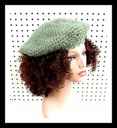 Light Sage Green Crochet Hat Womens Hat French Beret Hat Green Beret Sage Green Hat FRENCH ARTIST Womens Crochet Beret Hat 35.00 USD by #strawberrycouture on #Etsy - MUST SEE!