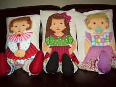 PINTURA EM TECIDO : Bonecas Almofadas