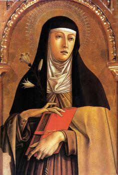 Carlo Crivelli  (1435 – 1495) |  Polittico di Montefiore (dettaglio) - Santa Chiara. Chiesa di Santa Lucia, Montefiore dell'Aso.