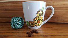 Sunflower Hand Painted Coffee Mug Floral Mug by Marquisdusoleil