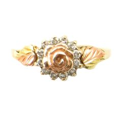 Black Hills Gold Diamond Halo Ring • Vintage 12 Diamond Ring with Rose and Leaves By South Dakota Gold Company • Size 6.5 by EncoreJewelryandGems on Etsy