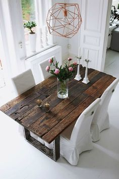 Farmhouse Dining Table Ideas for Cozy Rustic Look Dining Room Design Cozy Dining Farmhouse Ideas rustic Table Dining Room Design, Dining Room Table, Wood Table Design, Dining Nook, Dining Decor, Dining Chairs, Home Interior, Interior Design, Luxury Interior