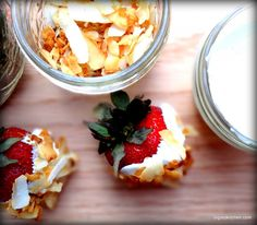 Coconut Cream Dipped Strawberries with Toasted Coconut