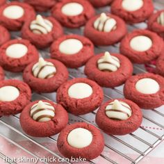 Red Velvet Thumbprints   Buttery red velvet cookies topped with white chocolate